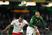 18 November 2019; David McGoldrick of Republic of Ireland in action against Mathias Jørgensen of Denmark during the UEFA EURO2020 Qualifier match between Republic of Ireland and Denmark at the Aviva Stadium in Dublin. Photo by Seb Daly/Sportsfile