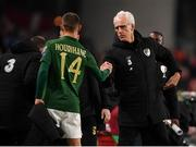 18 November 2019; Republic of Ireland manager Mick McCarthy, left, with Conor Hourihane following the UEFA EURO2020 Qualifier match between Republic of Ireland and Denmark at the Aviva Stadium in Dublin. Photo by Harry Murphy/Sportsfile