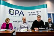 19 November 2019; Attendees, from left, Joan Kehoe, CPA Executive member, Michael Higgins, CPA Secretary, Michéal Briody, CPA Chairman, and Liam Griffin, CPA Executive member, during the Club Players Association Press Conference at the Carlton Hotel in Blanchardstown, Dublin. Photo by Piaras Ó Mídheach/Sportsfile