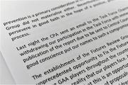 19 November 2019; A general view of the CPA statement during the Club Players Association Press Conference at the Carlton Hotel in Blanchardstown, Dublin. Photo by Piaras Ó Mídheach/Sportsfile