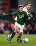 18 November 2019; Callum Robinson of Republic of Ireland and Yussuf Poulsen of Denmark during the UEFA EURO2020 Qualifier match between Republic of Ireland and Denmark at the Aviva Stadium in Dublin. Photo by Stephen McCarthy/Sportsfile