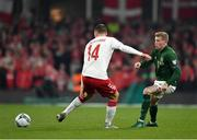 18 November 2019; James McClean of Republic of Ireland in action against Henrik Dalsgaard of Denmark during the UEFA EURO2020 Qualifier match between Republic of Ireland and Denmark at the Aviva Stadium in Dublin. Photo by Seb Daly/Sportsfile