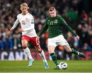 18 November 2019; James McClean of Republic of Ireland and Kasper Dolberg of Denmark during the UEFA EURO2020 Qualifier match between Republic of Ireland and Denmark at the Aviva Stadium in Dublin. Photo by Stephen McCarthy/Sportsfile
