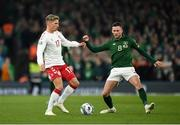 18 November 2019; Jens Stryger Larsen of Denmark in action against Alan Browne of Republic of Ireland during the UEFA EURO2020 Qualifier match between Republic of Ireland and Denmark at the Aviva Stadium in Dublin. Photo by Seb Daly/Sportsfile