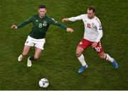 18 November 2019; Alan Browne of Republic of Ireland and Christian Eriksen of Denmark during the UEFA EURO2020 Qualifier - Group D match between Republic of Ireland and Denmark at Aviva Stadium in Dublin. Photo by Ben McShane/Sportsfile
