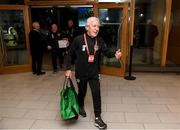 18 November 2019; Republic of Ireland kitman Mick Lawlor arrives prior to the UEFA EURO2020 Qualifier match between Republic of Ireland and Denmark at the Aviva Stadium in Dublin. Photo by Stephen McCarthy/Sportsfile