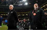 18 November 2019; Republic of Ireland Head of Team Security Bobby Ward and Republic of Ireland manager Mick McCarthy during the UEFA EURO2020 Qualifier match between Republic of Ireland and Denmark at the Aviva Stadium in Dublin. Photo by Stephen McCarthy/Sportsfile