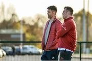 19 November 2019; Conor Murray, left, and Niall Scannell sit out Munster Rugby squad training at the University of Limerick in Limerick. Photo by Diarmuid Greene/Sportsfile