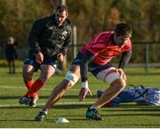 19 November 2019; Billy Holland, right, and James Cronin during Munster Rugby squad training at the University of Limerick in Limerick. Photo by Diarmuid Greene/Sportsfile
