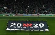 18 November 2019; A 20x20 flag ahead of the UEFA EURO2020 Qualifier match between Republic of Ireland and Denmark at the Aviva Stadium in Dublin. Photo by Ramsey Cardy/Sportsfile