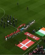 18 November 2019; Both teams line up for the National Anthems ahead of the UEFA EURO2020 Qualifier match between Republic of Ireland and Denmark at the Aviva Stadium in Dublin. Photo by Ramsey Cardy/Sportsfile