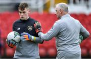 18 November 2019; Patrick McGarvey of Republic of Ireland with goalkeeping coach Josh Moran in the warm-up before the UEFA Under-17 European Championship Qualifier match between Republic of Ireland and Israel at Turner's Cross in Cork. Photo by Piaras Ó Mídheach/Sportsfile