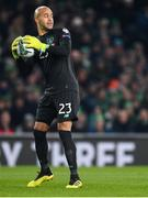 18 November 2019; Darren Randolph of Republic of Ireland during the UEFA EURO2020 Qualifier match between Republic of Ireland and Denmark at the Aviva Stadium in Dublin. Photo by Eóin Noonan/Sportsfile