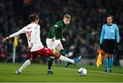 18 November 2019; James McClean of Republic of Ireland in action against Yussuf Poulsen of Denmark during the UEFA EURO2020 Qualifier match between Republic of Ireland and Denmark at the Aviva Stadium in Dublin. Photo by Eóin Noonan/Sportsfile