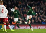 18 November 2019; Alan Browne of Republic of Ireland has a shot on goal during the UEFA EURO2020 Qualifier match between Republic of Ireland and Denmark at the Aviva Stadium in Dublin. Photo by Eóin Noonan/Sportsfile