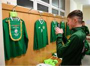 19 November 2019; James McManus of Republic of Ireland photographs his jersey prior to the U15 International Friendly match between Republic of Ireland and Poland at Eamonn Deacy Park in Galway. Photo by Seb Daly/Sportsfile