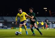 19 November 2019; Jake Larsson of Sweden in action against Thomas O'Connor of Republic of Ireland during the UEFA European U21 Championship Qualifier match between Republic of Ireland and Sweden at Tallaght Stadium in Tallaght, Dublin. Photo by Harry Murphy/Sportsfile