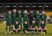 19 November 2019; The Republic of Ireland team, back row, from left to right, Troy Parrott, Natahn Collins, Adam Idah, Conor Masterson, Gavin Bazunu, Zack Elbouzedi and Thomas O'Connor. Front row, from left to right, Jayson Molumby, Lee O'Connor, Jason Knight and Conor Coventry prior to the UEFA European U21 Championship Qualifier match between Republic of Ireland and Sweden at Tallaght Stadium in Tallaght, Dublin. Photo by Stephen McCarthy/Sportsfile