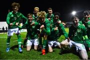 19 November 2019; Cathal Heffernan of Republic of Ireland, second left, celebrates with team=mates after scoring his side's second goal during the U15 International Friendly match between Republic of Ireland and Poland at Eamonn Deacy Park in Galway. Photo by Seb Daly/Sportsfile