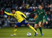 19 November 2019; Jens-Lys Michel Cajuste of Sweden in action against Zack Elbouzedi of Republic of Ireland during the UEFA European U21 Championship Qualifier match between Republic of Ireland and Sweden at Tallaght Stadium in Tallaght, Dublin. Photo by Eóin Noonan/Sportsfile