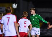 19 November 2019; Cathal Heffernan of Republic of Ireland heads to score his side's second goal during the U15 International Friendly match between Republic of Ireland and Poland at Eamonn Deacy Park in Galway. Photo by Seb Daly/Sportsfile