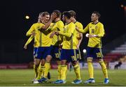 19 November 2019; Viktor Gyokeres of Sweden celebrates after scoring his side's first goal with team-mates during the UEFA European U21 Championship Qualifier match between Republic of Ireland and Sweden at Tallaght Stadium in Tallaght, Dublin. Photo by Harry Murphy/Sportsfile
