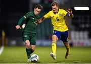 19 November 2019; Lee O'Connor of Republic of Ireland in action against John Bjorkengren of Sweden during the UEFA European U21 Championship Qualifier match between Republic of Ireland and Sweden at Tallaght Stadium in Tallaght, Dublin. Photo by Eóin Noonan/Sportsfile