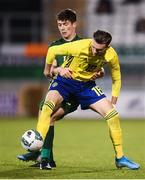 19 November 2019; Jake Larsson of Sweden and Thomas O'Connor of Republic of Ireland during the UEFA European U21 Championship Qualifier match between Republic of Ireland and Sweden at Tallaght Stadium in Tallaght, Dublin. Photo by Stephen McCarthy/Sportsfile