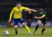 19 November 2019; Viktor Gyokeres of Sweden in action against Jayson Molumby of Republic of Ireland during the UEFA European U21 Championship Qualifier match between Republic of Ireland and Sweden at Tallaght Stadium in Tallaght, Dublin. Photo by Harry Murphy/Sportsfile