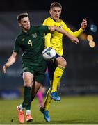 19 November 2019; Conor Masterson of Republic of Ireland in action against Viktor Gyokeres of Sweden during the UEFA European U21 Championship Qualifier match between Republic of Ireland and Sweden at Tallaght Stadium in Tallaght, Dublin. Photo by Harry Murphy/Sportsfile
