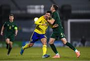19 November 2019; Daleho Irandust of Sweden is fouled by Conor Masterson of Republic of Ireland during the UEFA European U21 Championship Qualifier match between Republic of Ireland and Sweden at Tallaght Stadium in Tallaght, Dublin. Photo by Harry Murphy/Sportsfile