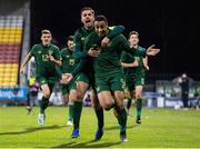 19 November 2019; Adam Idah celebrates with his Republic of Ireland team-mate Zack Elbouzedi, left, after scoring their side's second goal during the UEFA European U21 Championship Qualifier match between Republic of Ireland and Sweden at Tallaght Stadium in Tallaght, Dublin. Photo by Stephen McCarthy/Sportsfile