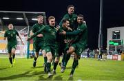 19 November 2019; Adam Idah, 9, celebrates with his Republic of Ireland team-mates after scoring their side's second goal during the UEFA European U21 Championship Qualifier match between Republic of Ireland and Sweden at Tallaght Stadium in Tallaght, Dublin. Photo by Stephen McCarthy/Sportsfile