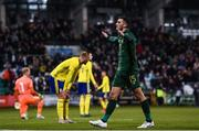 19 November 2019; Troy Parrott of Republic of Ireland celebrates after scoring his side's third goal during the UEFA European U21 Championship Qualifier match between Republic of Ireland and Sweden at Tallaght Stadium in Tallaght, Dublin. Photo by Harry Murphy/Sportsfile