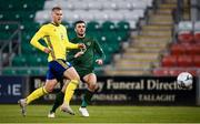 19 November 2019; Troy Parrott of Republic of Ireland shoots to score his side's third goal despite the attention of Fleix Beijmo of Sweden during the UEFA European U21 Championship Qualifier match between Republic of Ireland and Sweden at Tallaght Stadium in Tallaght, Dublin. Photo by Stephen McCarthy/Sportsfile