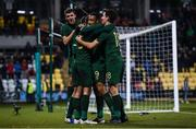 19 November 2019; Troy Parrott of Republic of Ireland celebrates after scoring his side's third goal with team-mates during the UEFA European U21 Championship Qualifier match between Republic of Ireland and Sweden at Tallaght Stadium in Tallaght, Dublin. Photo by Harry Murphy/Sportsfile