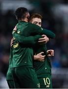 19 November 2019; Troy Parrott of Republic of Ireland celebrates after scoring his side's third goal with Connor Ronan of Republic of Ireland during the UEFA European U21 Championship Qualifier match between Republic of Ireland and Sweden at Tallaght Stadium in Tallaght, Dublin. Photo by Harry Murphy/Sportsfile