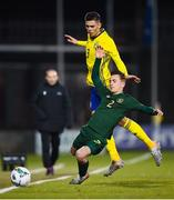 19 November 2019; Lee O'Connor of Republic of Ireland and Dennis Hadzikadunic of Sweden during the UEFA European U21 Championship Qualifier match between Republic of Ireland and Sweden at Tallaght Stadium in Tallaght, Dublin. Photo by Stephen McCarthy/Sportsfile