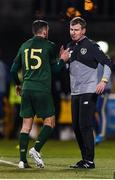 19 November 2019; Republic of Ireland manager Stephen Kenny with Troy Parrott of Republic of Ireland after he was substituted during the UEFA European U21 Championship Qualifier match between Republic of Ireland and Sweden at Tallaght Stadium in Tallaght, Dublin. Photo by Eóin Noonan/Sportsfile