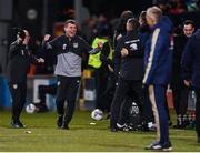 19 November 2019; Republic of Ireland manager Stephen Kenny celebrates after his side score their fourth goal during the UEFA European U21 Championship Qualifier match between Republic of Ireland and Sweden at Tallaght Stadium in Tallaght, Dublin. Photo by Eóin Noonan/Sportsfile