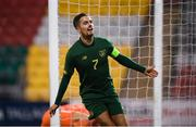 19 November 2019; Zack Elbouzedi of Republic of Ireland celebrates after scoring his side's fourth goal during the UEFA European U21 Championship Qualifier match between Republic of Ireland and Sweden at Tallaght Stadium in Tallaght, Dublin. Photo by Stephen McCarthy/Sportsfile
