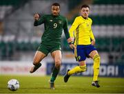 19 November 2019; Adam Idah of Republic of Ireland in action against Anel Ahmedhodžic of Sweden during the UEFA European U21 Championship Qualifier match between Republic of Ireland and Sweden at Tallaght Stadium in Tallaght, Dublin. Photo by Stephen McCarthy/Sportsfile