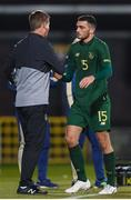 19 November 2019; Republic of Ireland manager Stephen Kenny with Troy Parrott of Republic of Ireland after he was substituted during the UEFA European U21 Championship Qualifier match between Republic of Ireland and Sweden at Tallaght Stadium in Tallaght, Dublin. Photo by Stephen McCarthy/Sportsfile