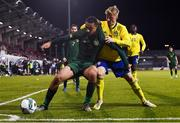 19 November 2019; Adam Idah of Republic of Ireland in action against Emil Hansson of Sweden during the UEFA European U21 Championship Qualifier match between Republic of Ireland and Sweden at Tallaght Stadium in Tallaght, Dublin. Photo by Stephen McCarthy/Sportsfile
