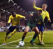 19 November 2019; Adam Idah of Republic of Ireland in action against Emil Hansson, right, and Bilal Hussein of Sweden during the UEFA European U21 Championship Qualifier match between Republic of Ireland and Sweden at Tallaght Stadium in Tallaght, Dublin. Photo by Stephen McCarthy/Sportsfile