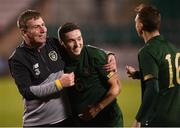 19 November 2019; Republic of Ireland manager Stephen Kenny and Conor Coventry of Republic of Ireland celebrate following the UEFA European U21 Championship Qualifier match between Republic of Ireland and Sweden at Tallaght Stadium in Tallaght, Dublin. Photo by Stephen McCarthy/Sportsfile