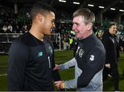 19 November 2019; Republic of Ireland manager Stephen Kenny and Gavin Bazunu of Republic of Ireland celebrate following the UEFA European U21 Championship Qualifier match between Republic of Ireland and Sweden at Tallaght Stadium in Tallaght, Dublin. Photo by Stephen McCarthy/Sportsfile
