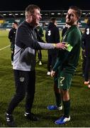 19 November 2019; Republic of Ireland manager Stephen Kenny with Zack Elbouzedi of Republic of Ireland following the UEFA European U21 Championship Qualifier match between Republic of Ireland and Sweden at Tallaght Stadium in Tallaght, Dublin. Photo by Eóin Noonan/Sportsfile