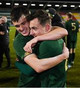 19 November 2019; Jason Knight, left, and Lee O'Connor of Republic of Ireland celebrate following the UEFA European U21 Championship Qualifier match between Republic of Ireland and Sweden at Tallaght Stadium in Tallaght, Dublin. Photo by Stephen McCarthy/Sportsfile