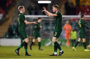 19 November 2019; Nathan Collins of Republic of Ireland, right, celebrates with team-mate Liam Scales following the UEFA European U21 Championship Qualifier match between Republic of Ireland and Sweden at Tallaght Stadium in Tallaght, Dublin. Photo by Eóin Noonan/Sportsfile